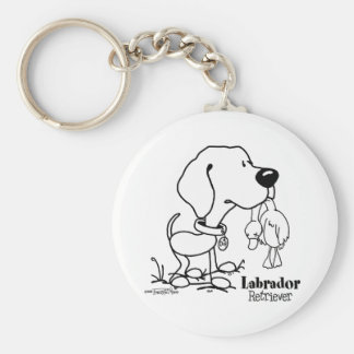 Labrador Retriever - B/W Basic Round Button Key Ring