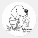 Labrador Retriever - B/W Round Sticker