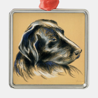 Labrador Retriever - Black Dog Pastel Drawing Christmas Ornament