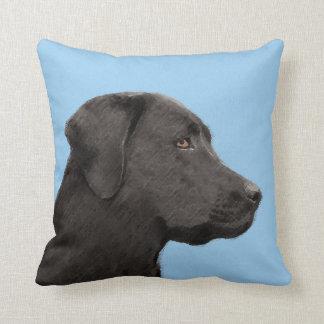 Labrador Retriever Black Painting Original Dog Art Cushion