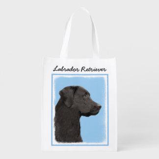 Labrador Retriever Black Painting Original Dog Art Reusable Grocery Bag