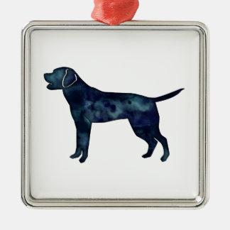 Labrador Retriever Black Watercolor Silhouette Christmas Ornament