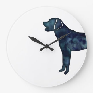 Labrador Retriever Black Watercolor Silhouette Large Clock