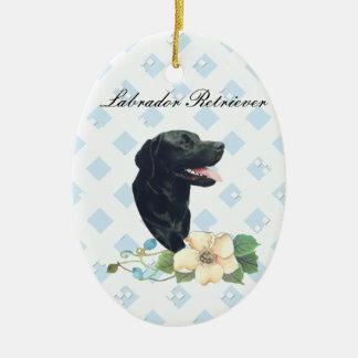 Labrador Retriever ~ Blue w/ White Diamonds Ceramic Oval Decoration