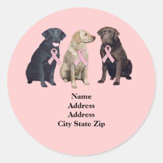 Labrador Retriever Breast Cancer Address Label Stickers