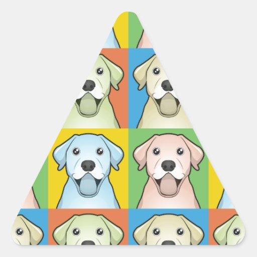Labrador Retriever Cartoon Pop-Art Triangle Sticker