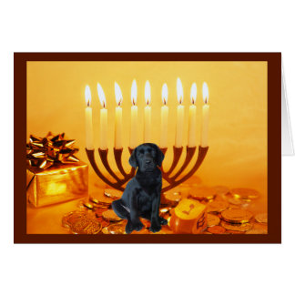 Labrador Retriever  Chanukah Card Menorah