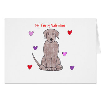 Labrador Retriever Chocolate Furry Valentine Greeting Card