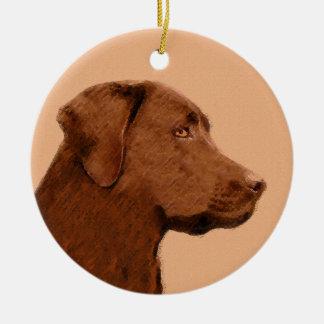 Labrador Retriever (Chocolate) Painting - Dog Art Christmas Ornament