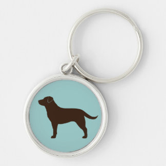 Labrador Retriever (Chocolate) Silver-Colored Round Key Ring