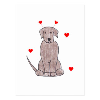 Labrador Retriever Chocolate Valentine Ears Postcard