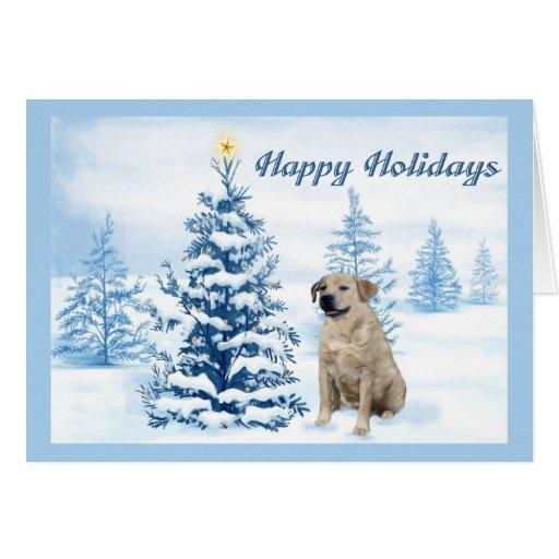 Labrador Retriever  Christmas Card Blue Tree1