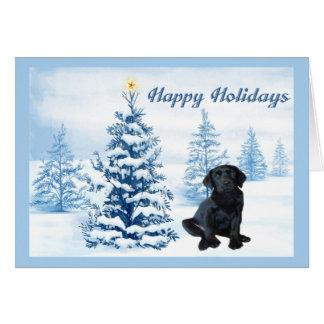 Labrador Retriever Christmas Card Blue Tree10