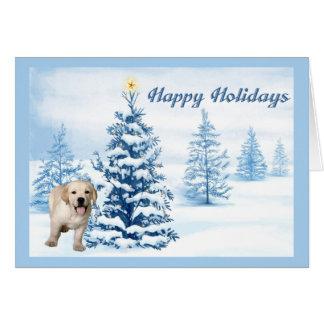 Labrador Retriever Christmas Card Blue Tree2