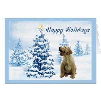 Labrador Retriever Christmas Card Blue Tree3