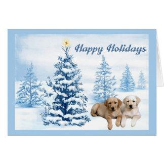 Labrador Retriever Christmas Card Blue Tree5