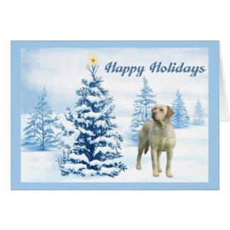 Labrador Retriever Christmas Card Blue Tree6