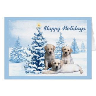 Labrador Retriever Christmas Card Blue Tree7