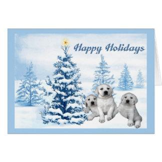 Labrador Retriever Christmas Card Blue Tree8
