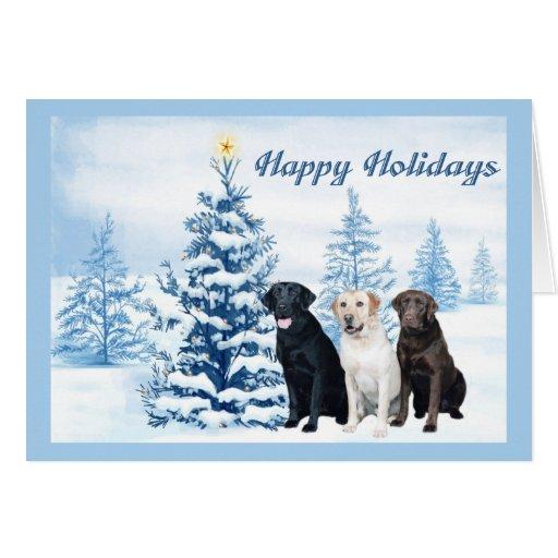 Labrador Retriever  Christmas Card Blue Tree9