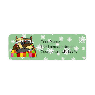 Labrador Retriever Christmas Eve cartoon Return Address Label