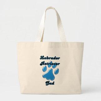 Labrador Retriever Dad Blue Pawprint Tote Bags