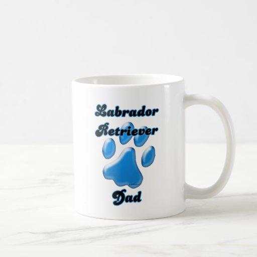 Labrador Retriever Dad Blue Pawprint  Mugs