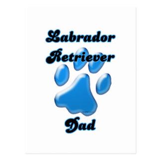 Labrador Retriever Dad Blue Pawprint  Postcard