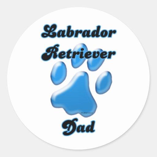 Labrador Retriever Dad Blue Pawprint  - Sticker