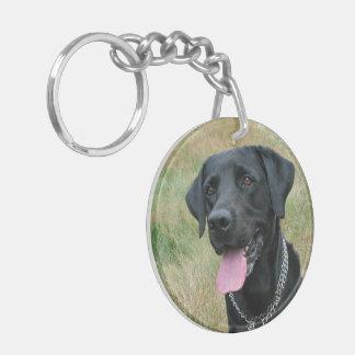Labrador Retriever dog black beautiful photo Key Ring