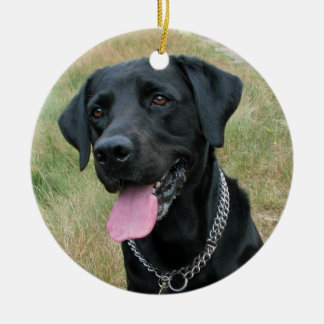 Labrador Retriever dog black ornament, gift idea Round Ceramic Decoration