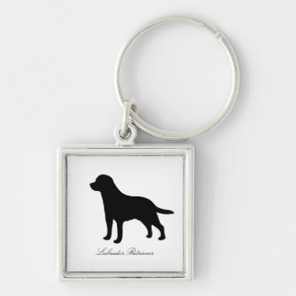 Labrador Retriever dog black silhouette keychain
