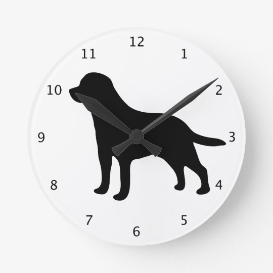 Labrador Retriever dog black silhouette Round Clock