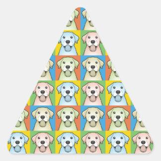 Labrador Retriever Dog Cartoon Pop-Art Triangle Sticker