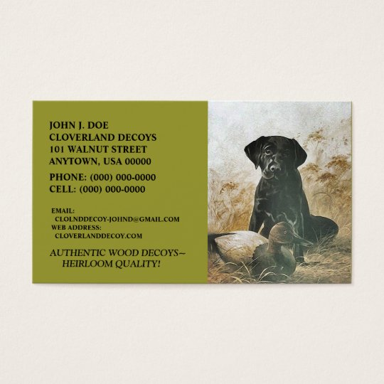 LABRADOR RETRIEVER DOG & DECOY ~BUSINESS CARDS!
