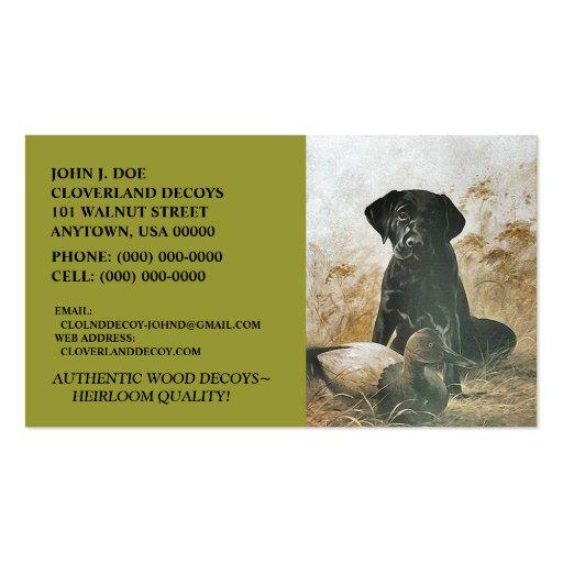 LABRADOR RETRIEVER DOG & DECOY ~BUSINESS CARDS! PACK OF STANDARD BUSINESS CARDS