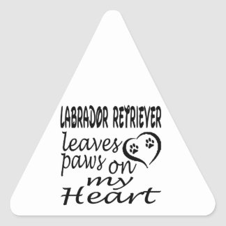 Labrador Retriever Dog Leaves Paw On My Heart Triangle Stickers