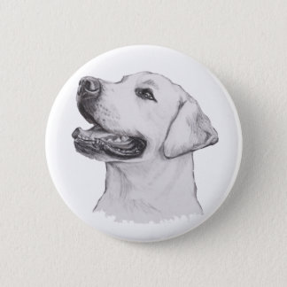 Labrador Retriever Dog Portrait Drawing 6 Cm Round Badge