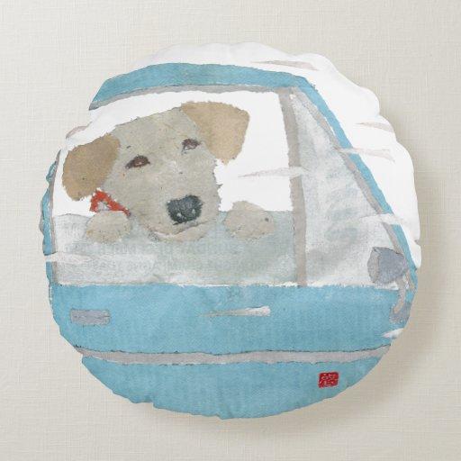 Labrador Retriever In Blue Car Round Pillow