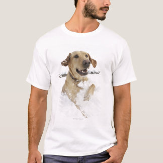 Labrador retriever jumping through deep snow T-Shirt