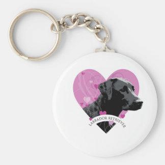 Labrador Retriever Love Heart Basic Round Button Key Ring