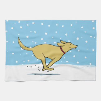 Labrador Retriever Loves the Snow - Holiday Dog Tea Towel