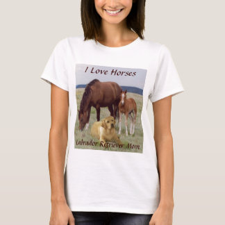 Labrador Retriever Mom T-Shirt With Horses