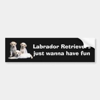 Labrador Retriever Puppies Bumper Sticker Car Bumper Sticker