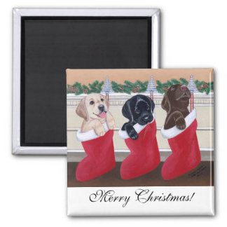 Labrador Retriever Puppies Christmas Painting Square Magnet