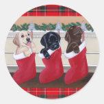 Labrador Retriever Puppies Christmas Painting Round Sticker