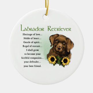 Labrador Retriever Puppy Heritage Gifts Round Ceramic Decoration