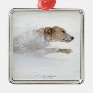 Labrador retriever running through deep snow christmas ornament