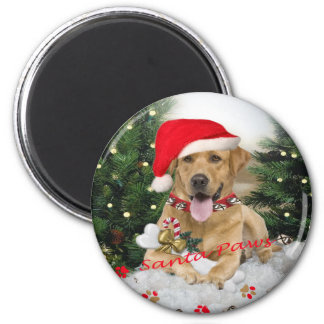 Labrador Retriever Santa Gifts 6 Cm Round Magnet