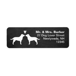 Labrador Retriever Silhouettes with Heart Return Address Label